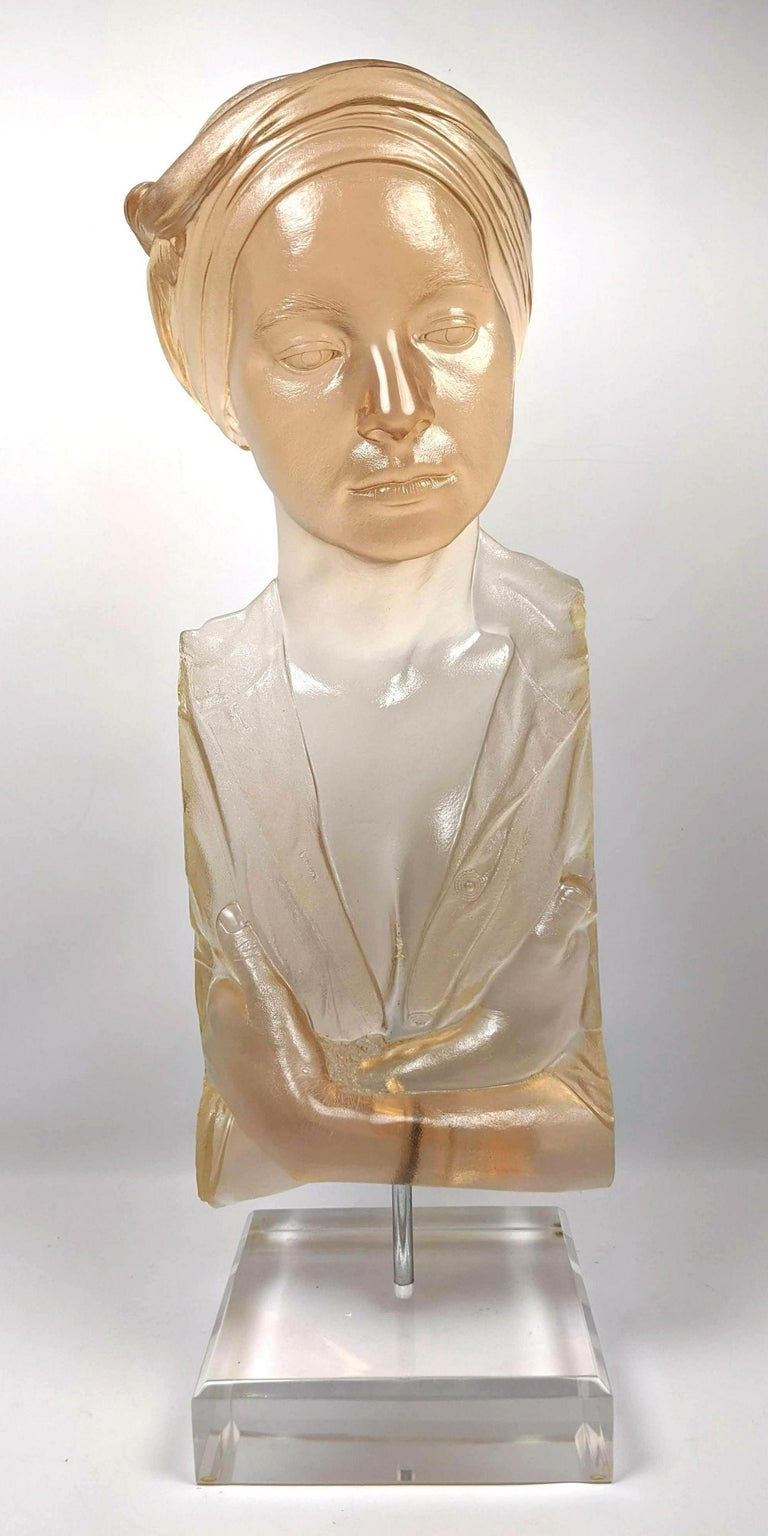 Marc Sijan Hyper Realist Contemporary Cast Acrylic Resin Sculpture Portrait Bust - Beige Figurative Sculpture by Marc Sijan