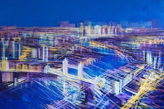 City of Lights, London, landscape painting , aerial view