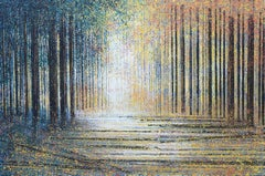 Evening Light Falling Through Trees, Painting, Acrylic on Canvas
