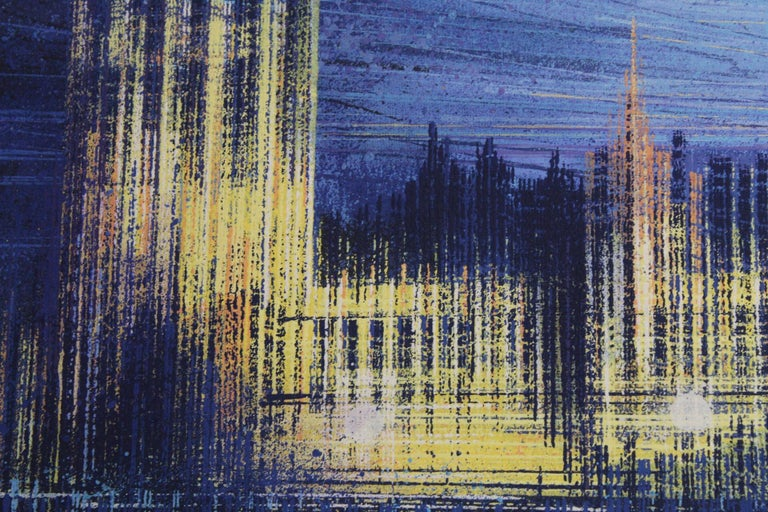 Marc Todd, London Dusk, Original cityscape painting - Black Landscape Painting by Marc Todd