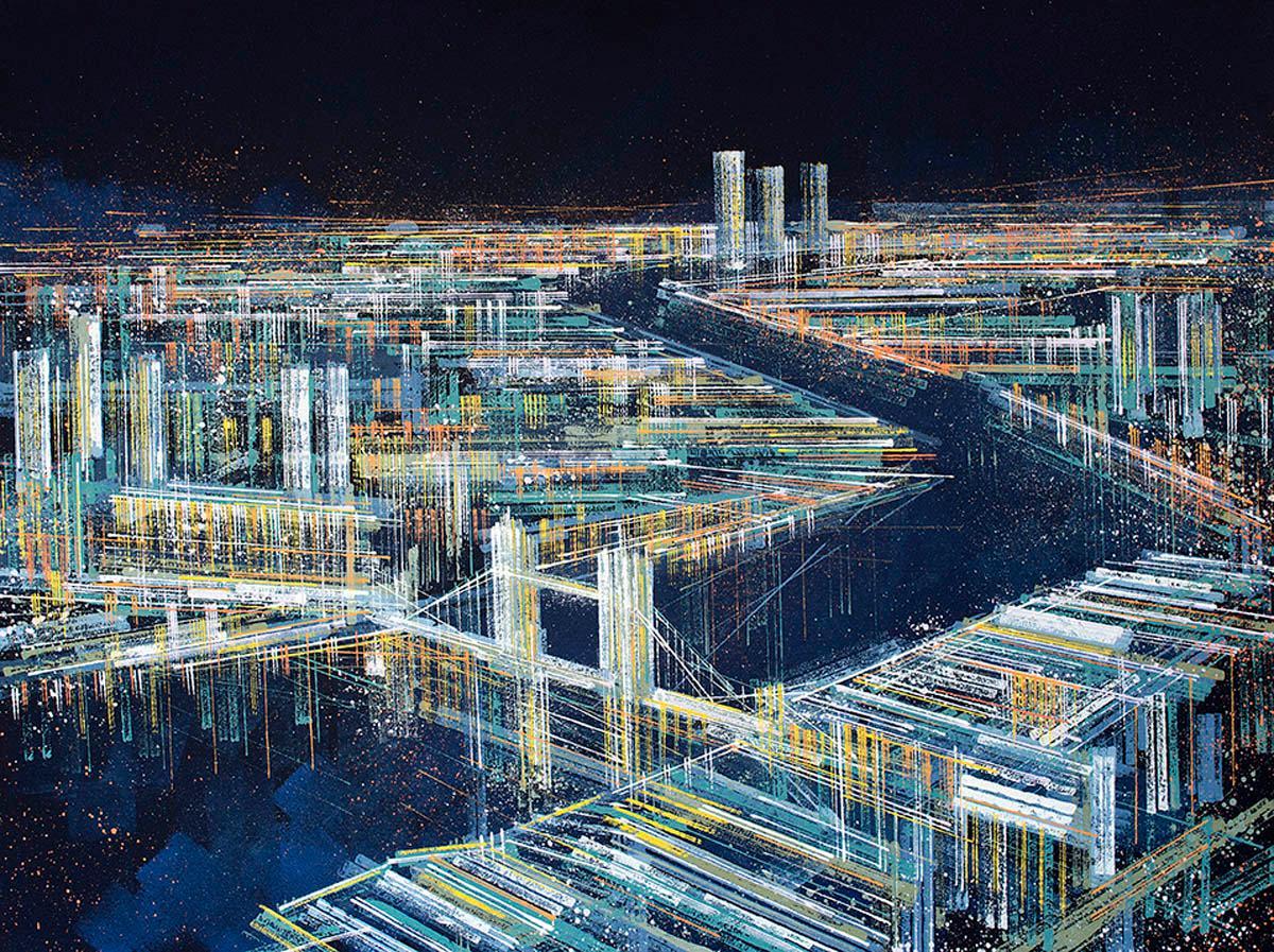 Marc Todd, London Illuminated At Night, Original Contemporary Cityscape Painting