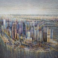New York. Manhattan At Sunset, Painting, Acrylic on Canvas