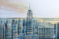 New York. The Empire State Building At Sunset, Painting, Acrylic on Canvas