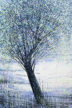 Spring Tree At Twilight, Painting, Acrylic on Canvas