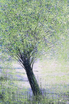 Spring Tree In Bright Light, Painting, Acrylic on Canvas