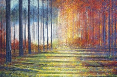 Trees In Bright Summer Colors, Painting, Acrylic on Canvas