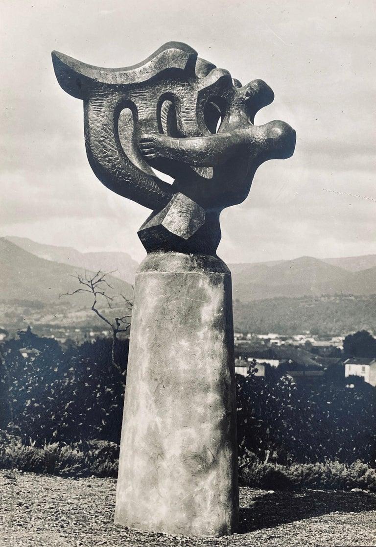 Marc Vaux Abstract Photograph - Vintage Silver Gelatin Photograph Jacques Lipchitz Bronze Sculpture Photo Signed