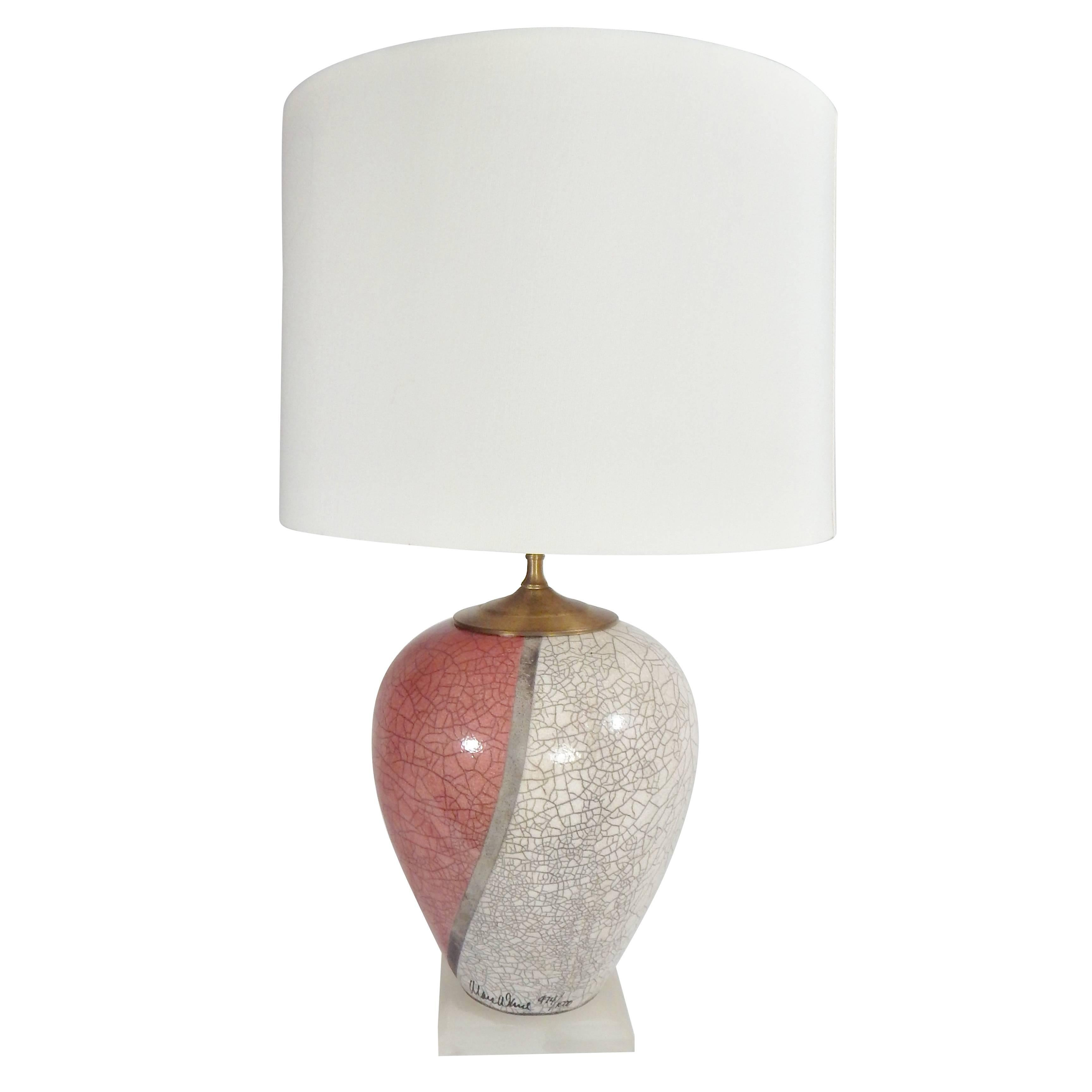Marc Ward Artist Signed Crackle Glaze Ceramic Table Lamp