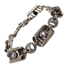 Marcasite and Amethyst Sterling Silver Bracelet