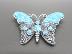 Marcasite and Blue Opal, Silver Butterfly Brooch
