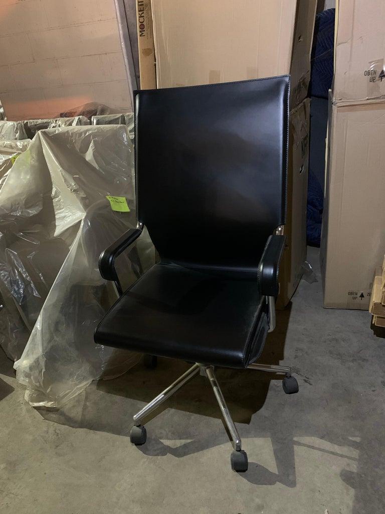 Marcatre Highback Archizoom Black Leather Desk Chair  For Sale 7