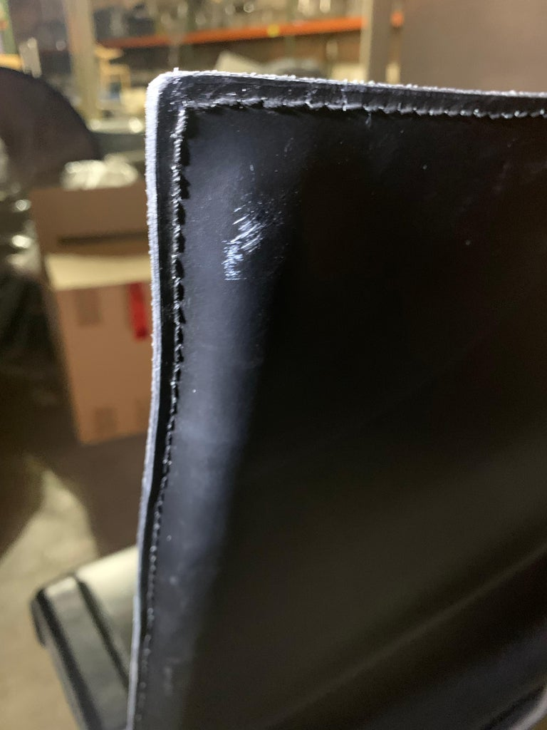 Italian Marcatre Highback Archizoom Black Leather Desk Chair  For Sale