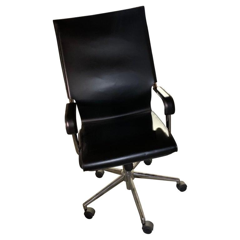 Marcatre Highback Archizoom Black Leather Desk Chair  For Sale