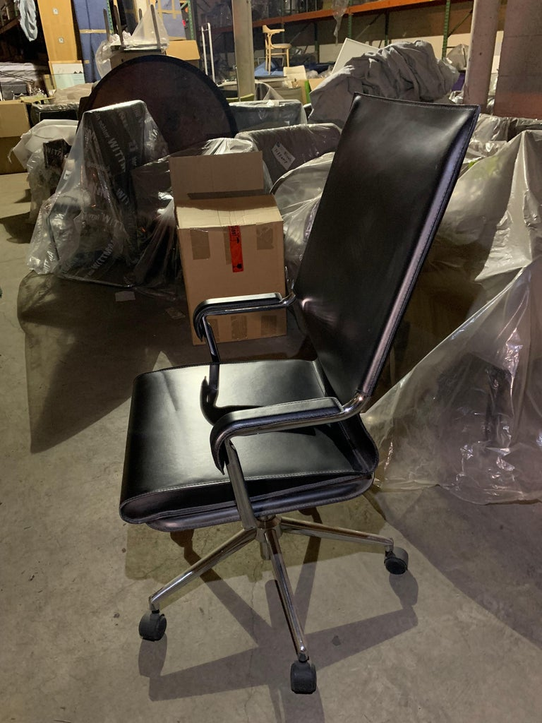 Marcatre Set of two Archizoom Black Leather Desk Chair  For Sale 13