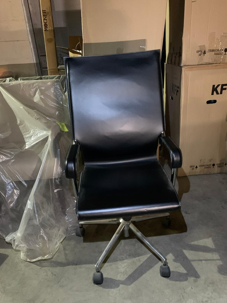 Marcatre Set of two Archizoom Black Leather Desk Chair  For Sale 2