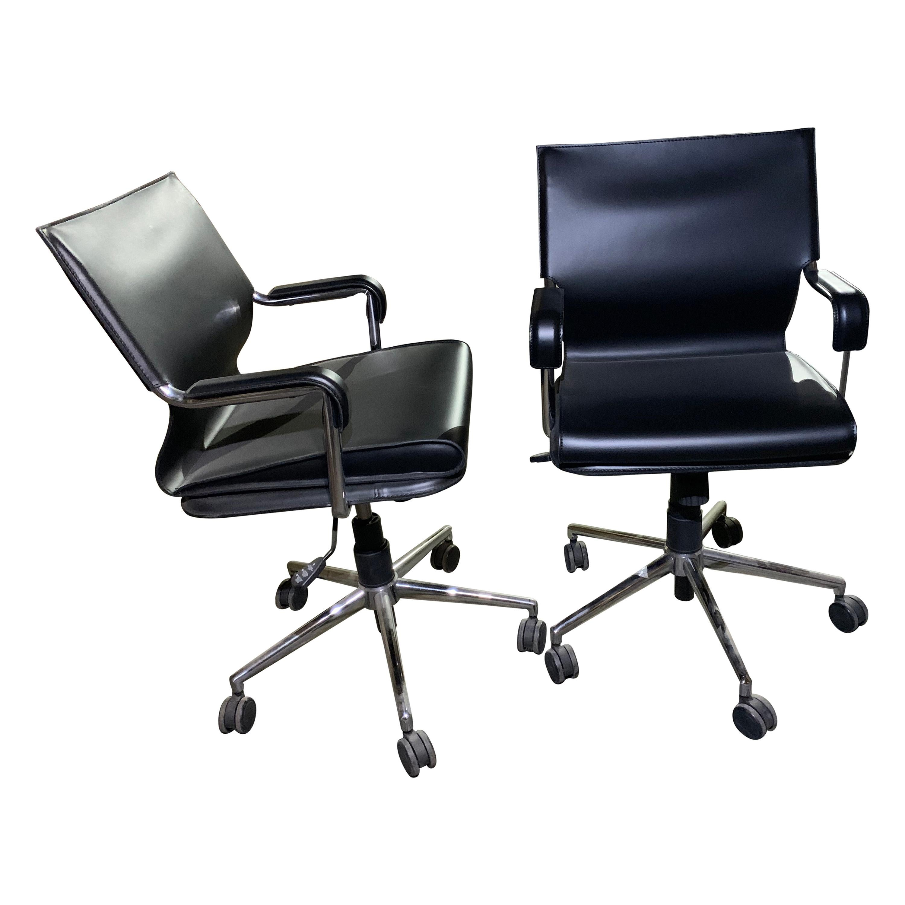 Marcatre Set of two Archizoom Black Leather Desk Chair