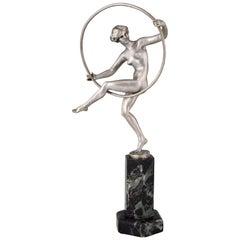 Marcel André Bouraine Art Deco Bronze Sculpture Nude Hoop Dancer 1920