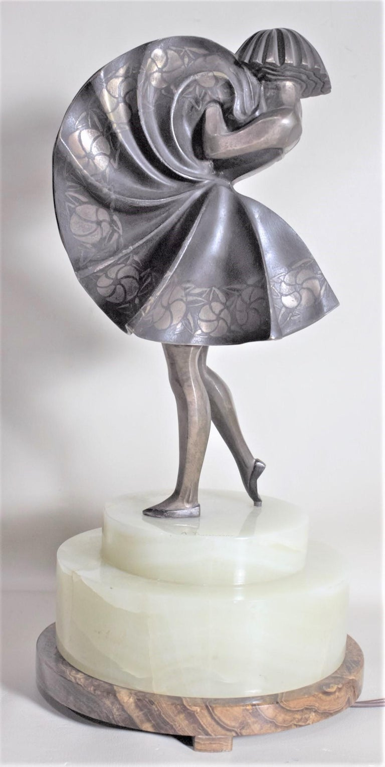 Marcel Andre Bouraine Art Deco Silvered Bronze Lighted Sculpture Dancing Girl For Sale 4