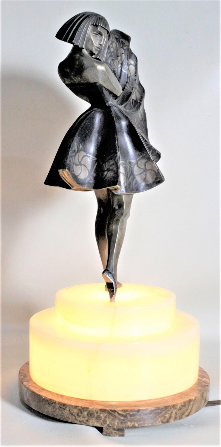 Marcel Andre Bouraine Art Deco Silvered Bronze Lighted Sculpture Dancing Girl For Sale 9