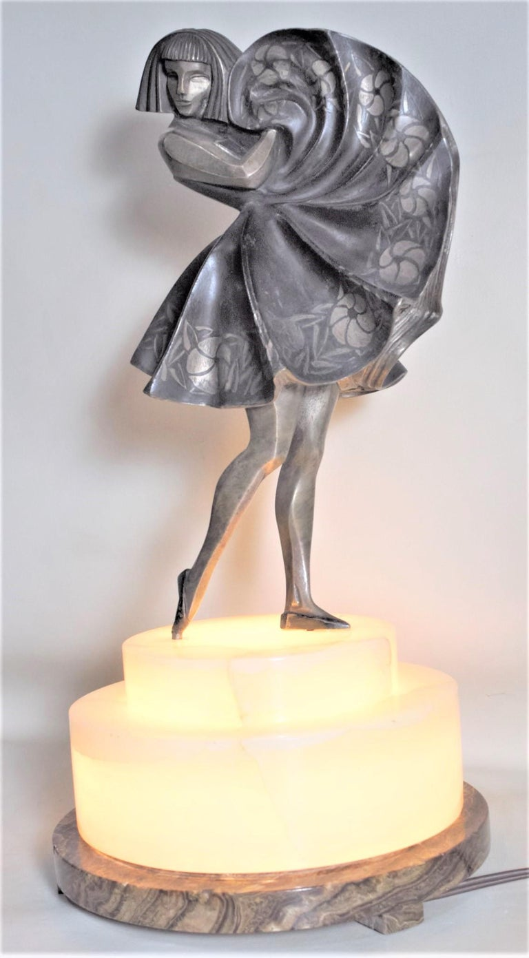 French Marcel Andre Bouraine Art Deco Silvered Bronze Lighted Sculpture Dancing Girl For Sale