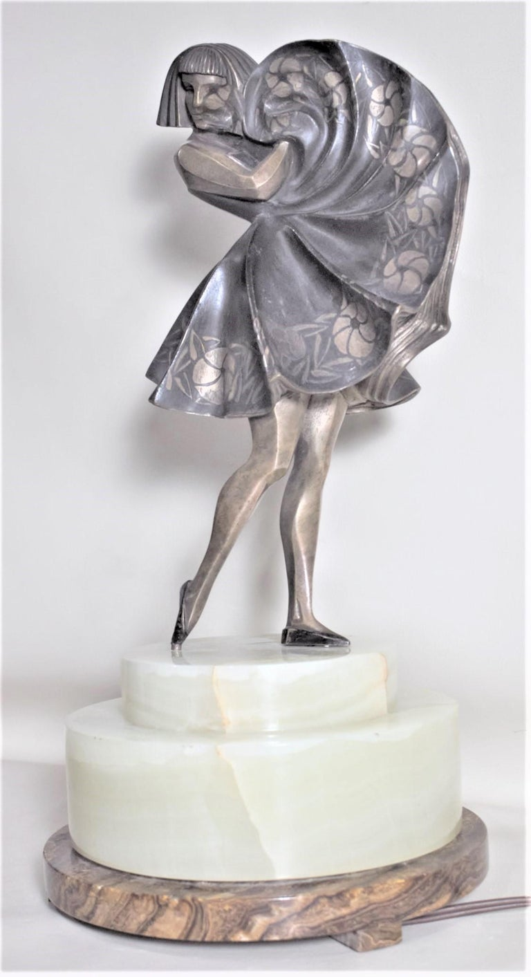 Cast Marcel Andre Bouraine Art Deco Silvered Bronze Lighted Sculpture Dancing Girl For Sale
