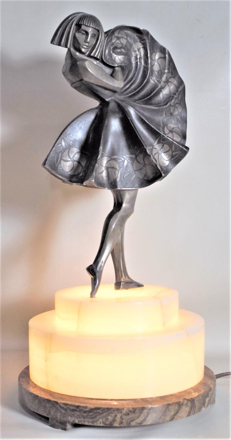 Marcel Andre Bouraine Art Deco Silvered Bronze Lighted Sculpture Dancing Girl In Good Condition For Sale In Hamilton, Ontario