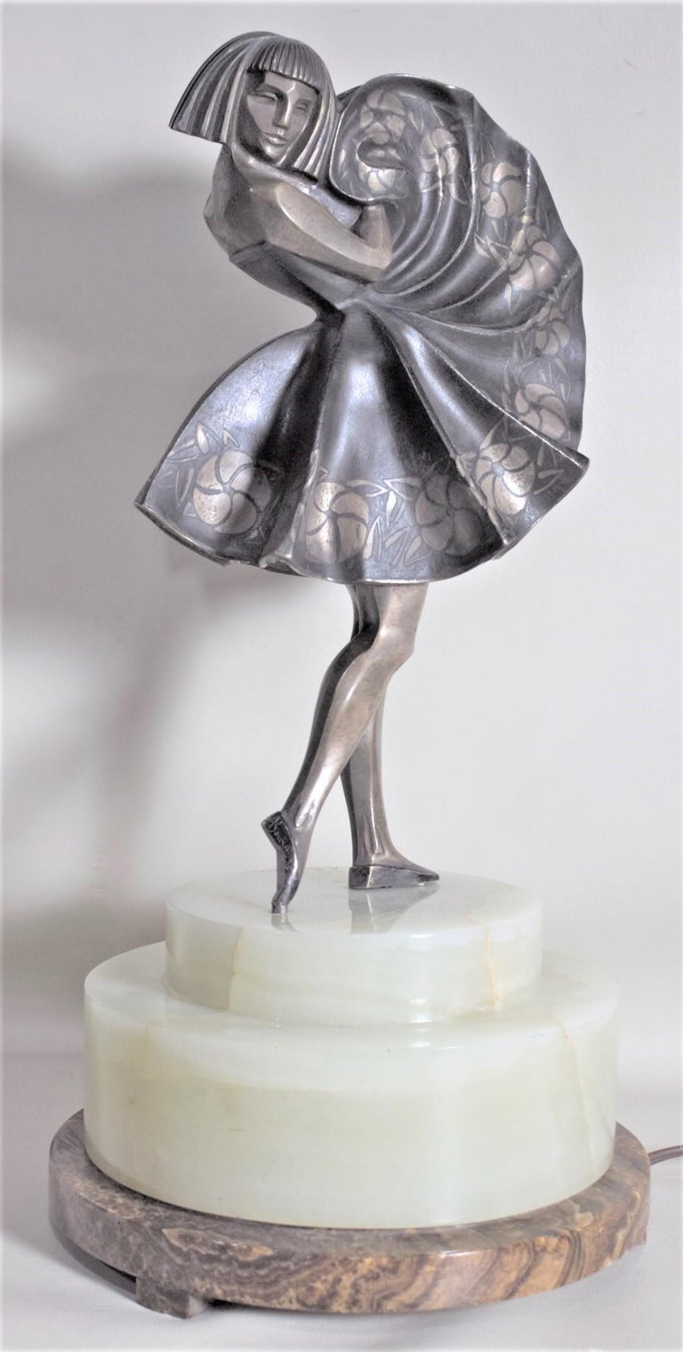 20th Century Marcel Andre Bouraine Art Deco Silvered Bronze Lighted Sculpture Dancing Girl For Sale