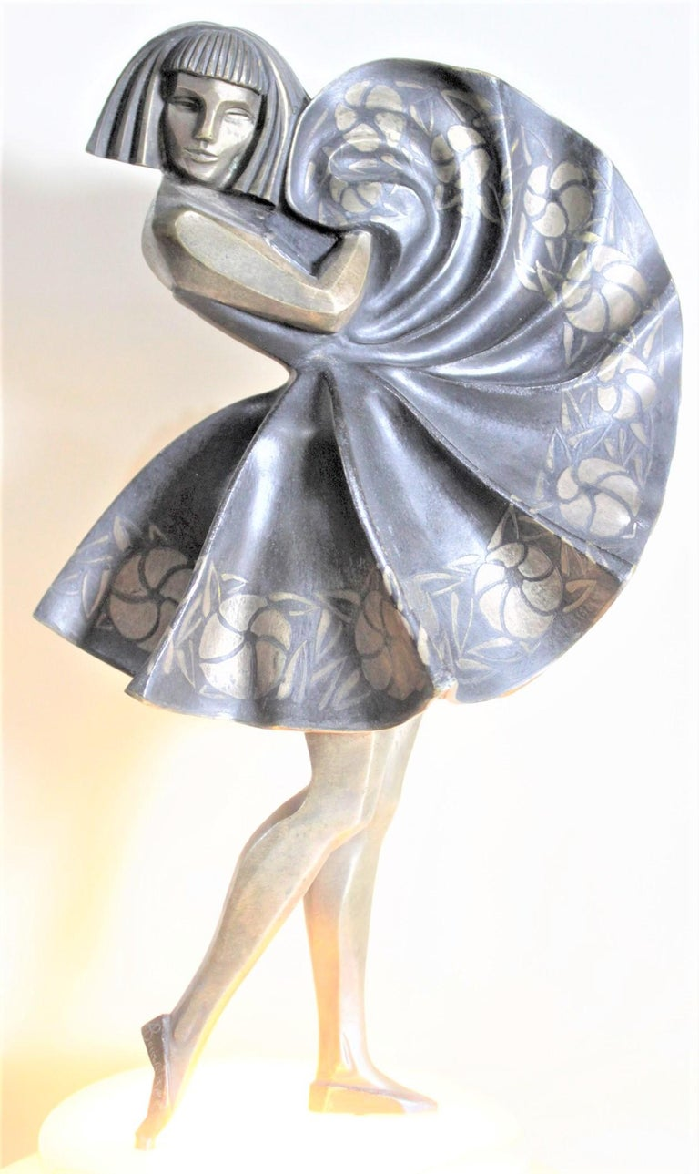 Marcel Andre Bouraine Art Deco Silvered Bronze Lighted Sculpture Dancing Girl For Sale 1