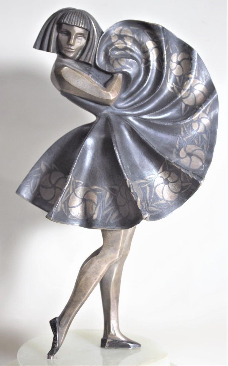 Marcel Andre Bouraine Art Deco Silvered Bronze Lighted Sculpture Dancing Girl For Sale 2