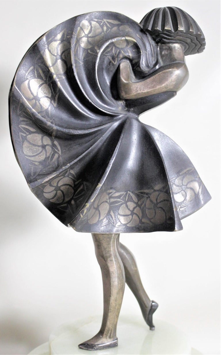 Marcel Andre Bouraine Art Deco Silvered Bronze Lighted Sculpture Dancing Girl For Sale 3