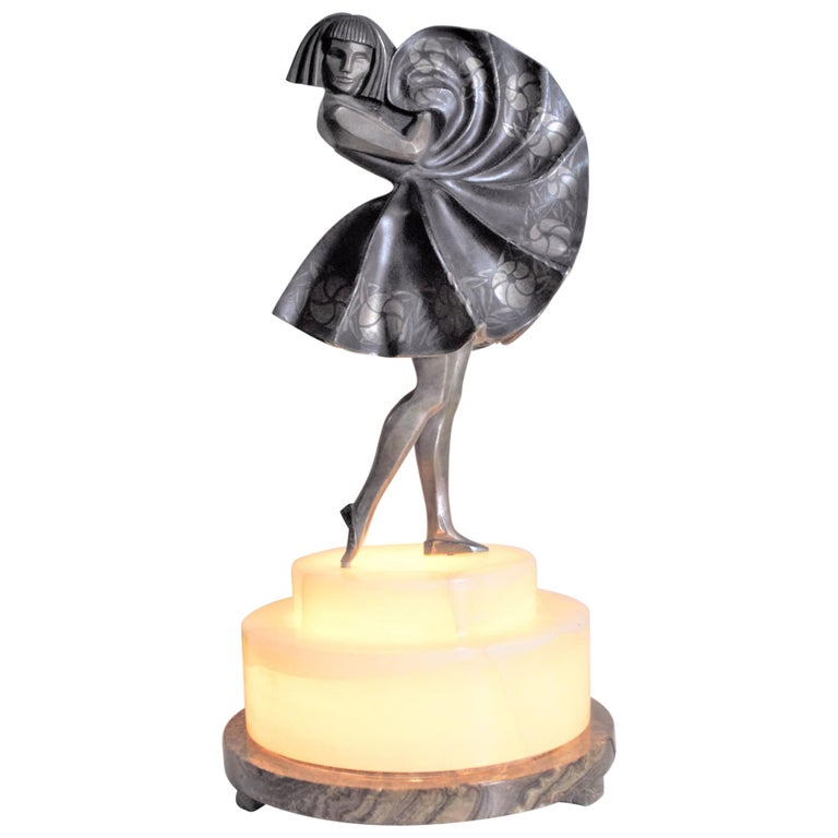 Marcel Andre Bouraine Art Deco Silvered Bronze Lighted Sculpture Dancing Girl For Sale