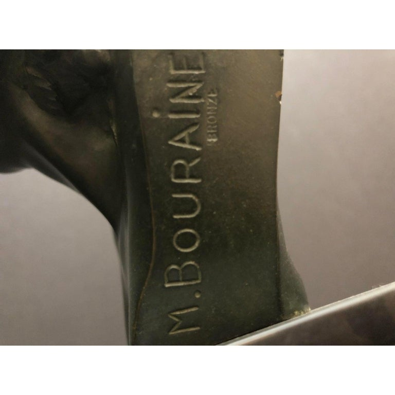Marcel-André Bouraine Bronze Bust Sculpture In Good Condition For Sale In Norwood, NJ