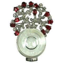 Marcel Boucher Art Deco Crystal Vase Brooch
