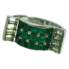 Marcel Boucher Art Deco Invisibly Set Faux Emerald Ring