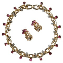 Marcel Boucher Necklace and Earrings Set with Rhinestones and Faux Rubies