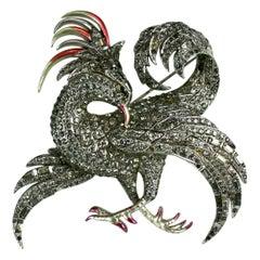 Marcel Boucher Pave Baguette and Pearlized Enamel Phoenix Brooch