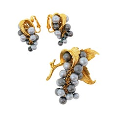 Marcel Boucher Pearl Grape Demi-Parure Brooch and Earrings Set, circa 1960
