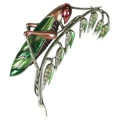 Marcel Boucher Pearlized Enamel Grasshopper Brooch
