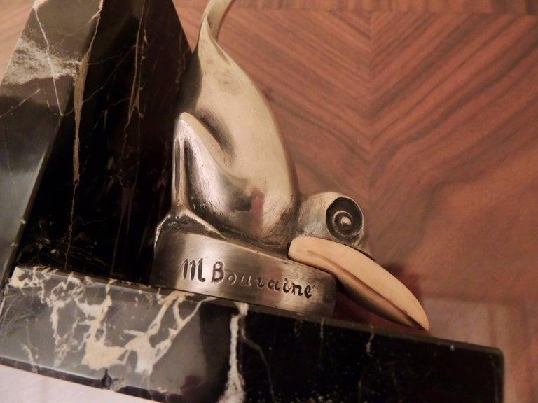 Mid-20th Century Marcel Bouraine Art Deco Bronze Bird Bookends