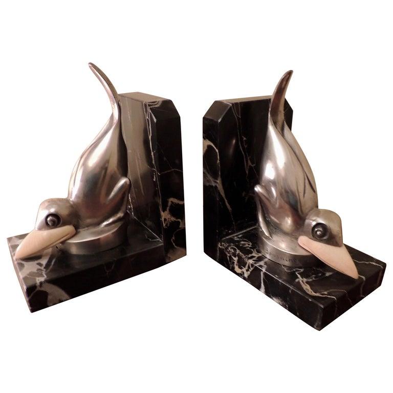Marcel Bouraine Art Deco Bronze Bird Bookends