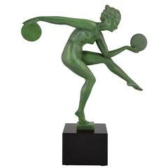 Marcel Bouraine Art Deco Sculpture Nude Disc Dancer Derenne, France, 1930