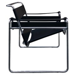 Marcel Breuer 1980s Black Leather and Steel Structure Wassily Armchair