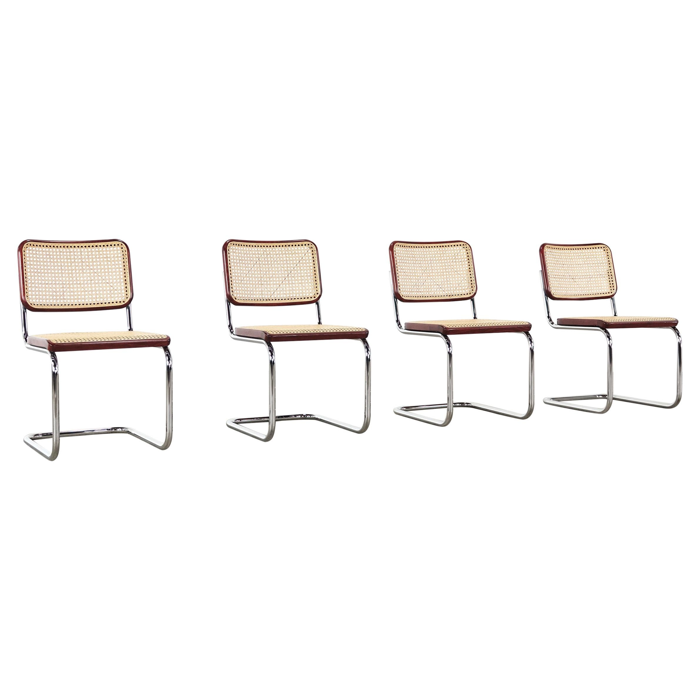 Marcel Breuer 4 Cantilever Chairs 'S32' for Thonet
