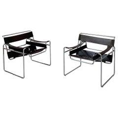 "Marcel Breuer B3 ""Wassily"" Bauhaus Chairs for Gavina Knoll, 1971, Set of 2"