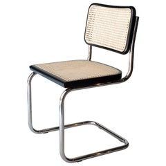 After Marcel Breuer Cane Webbing Chromed Black Beechwood Chair, Italy