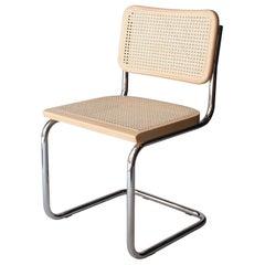 After Marcel Breuer Cane Webbing Chrome Beige Oak Chair, Italy
