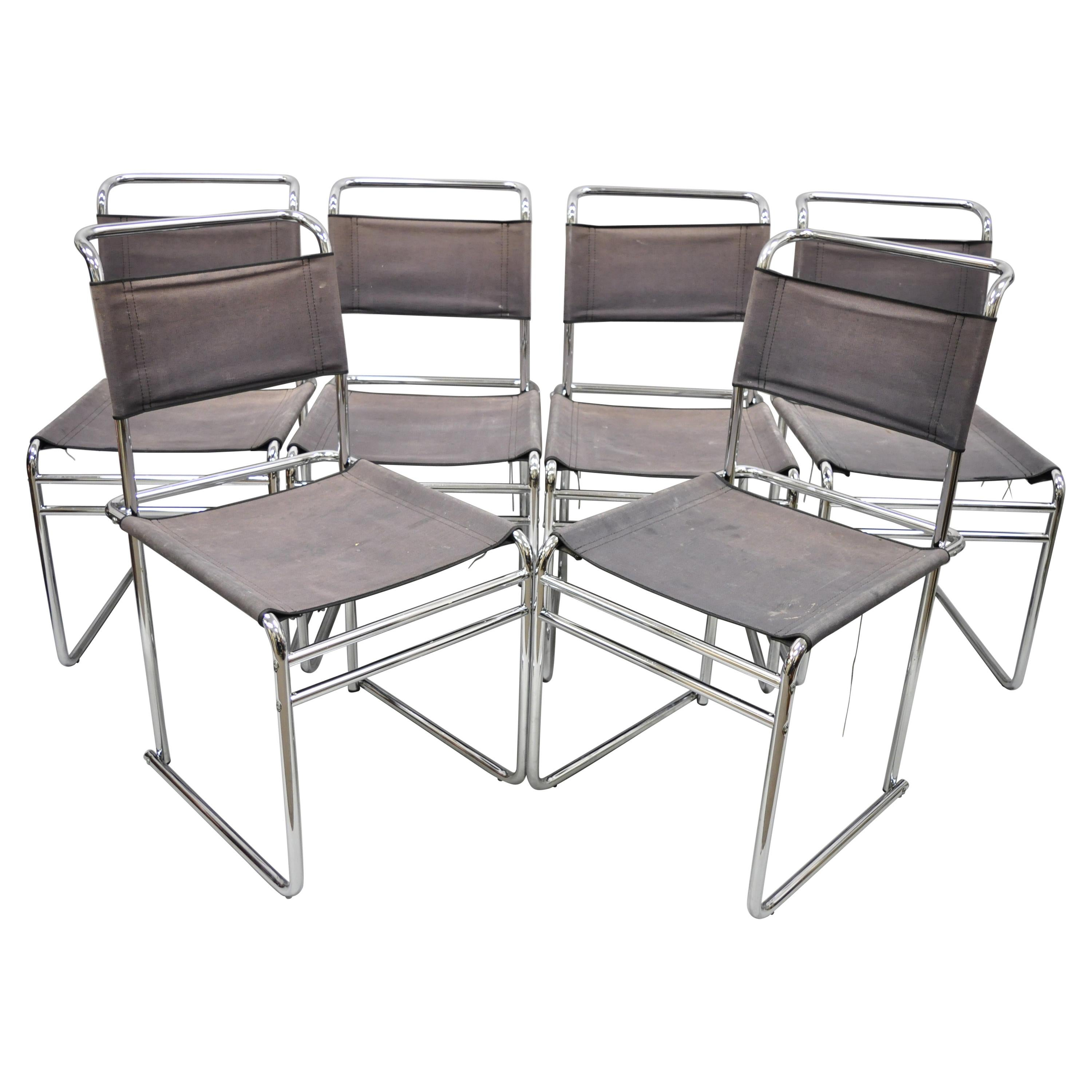 Marcel Breuer B5 Dining Chairs Chrome and Canvas Vintage Bauhaus, Set of 6