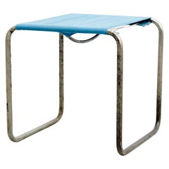Marcel Breuer B9T Stool for Thonet with Blue Fabric and Metal Tube, circa 1930