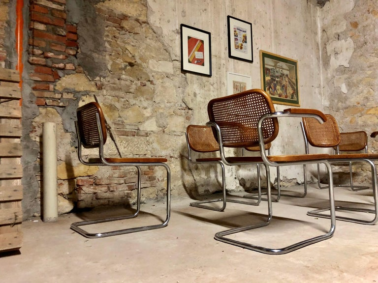 Mid-Century Modern Marcel Breuer Bauhaus B32 Cesca Dining Room Chairs for Knoll, 1970s, Set of 8 For Sale