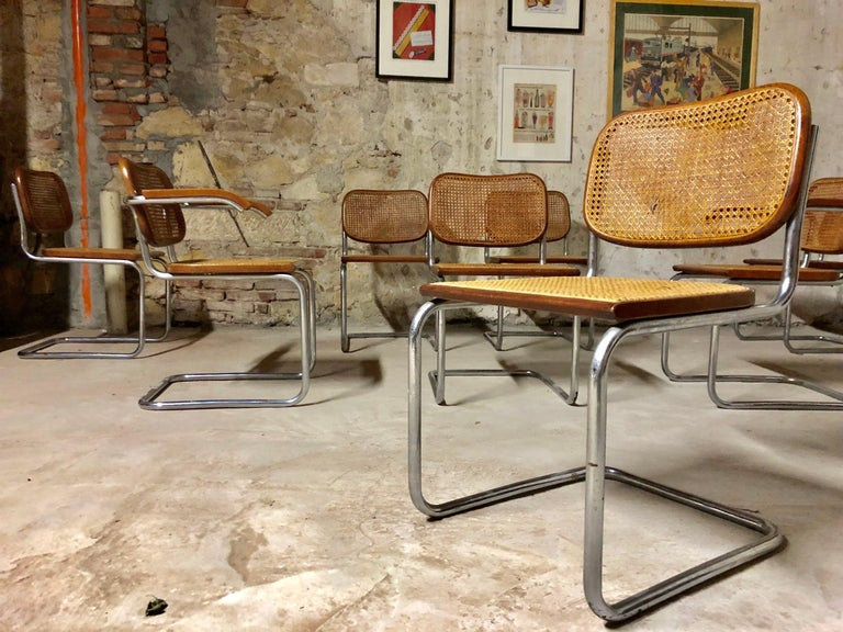 Italian Marcel Breuer Bauhaus B32 Cesca Dining Room Chairs for Knoll, 1970s, Set of 8 For Sale